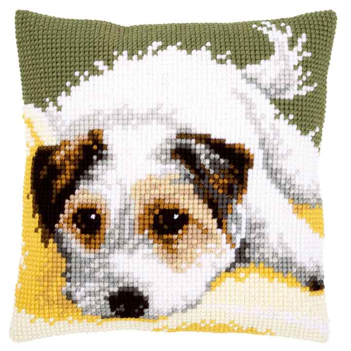 Vervaco Cross Stitch Cushion: Dog Wagging it's Tail Cats & Dogs CSCK