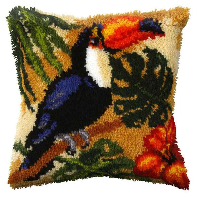 Orchidea Latch Hook Kit: Cushion: Large: Toucan Latch Hook Cushion Kit