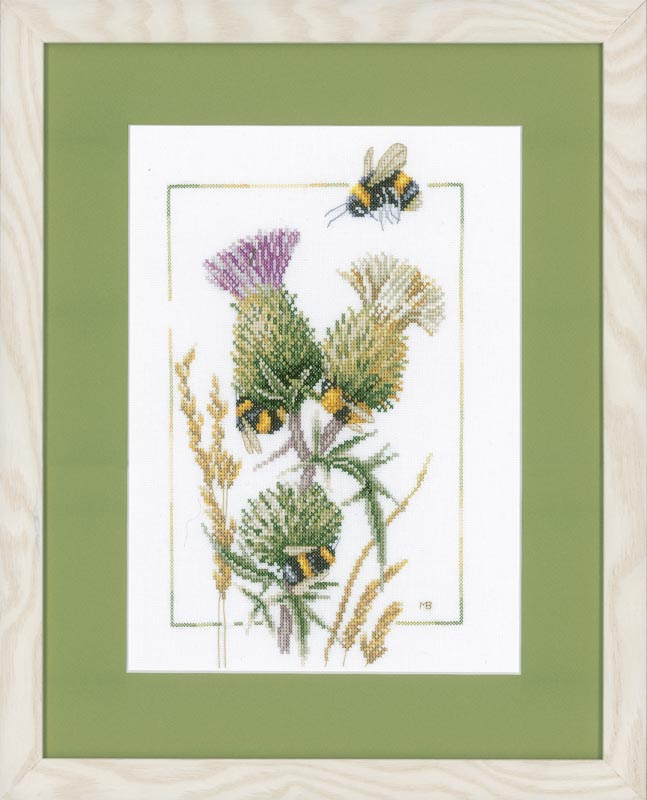 Lanarte Counted Cross Stitch Kit: Thistle Bees (Aida) Insects & Bugs CSK