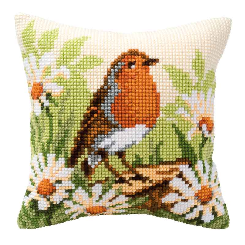 Vervaco Cross Stitch Cushion Kit: Robin Flowers & Nature CSCK