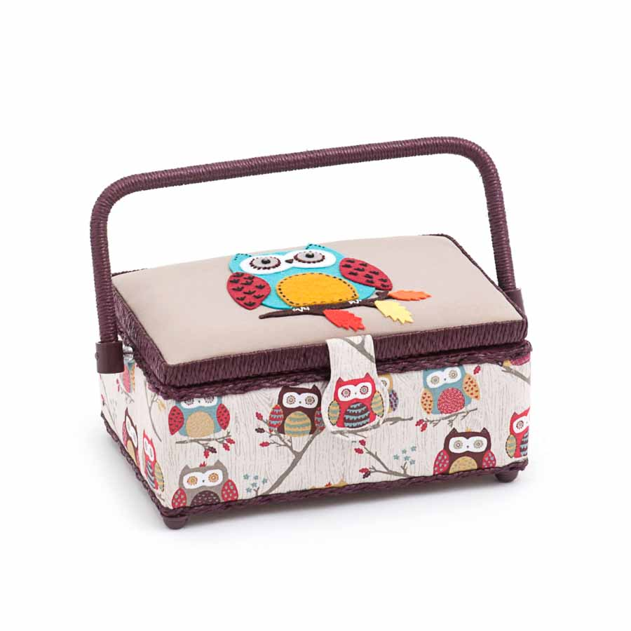 HobbyGift Applique Sewing Box (M): Rectangle: Owl: Hoot | MRMA_195