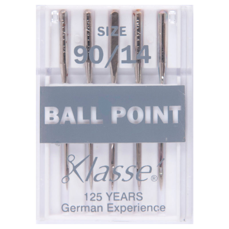 Klasse Sewing Machine Needles: Ball Point: 90/14: 5 Pieces