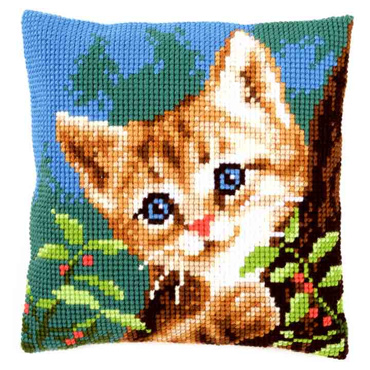Vervaco Cross Stitch Cushion: Cat on a Tree Cats & Dogs CSCK