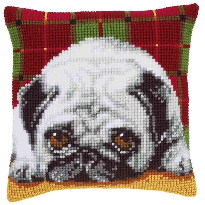 Vervaco Cross Stitch Cushion: Pug Cats & Dogs CSCK