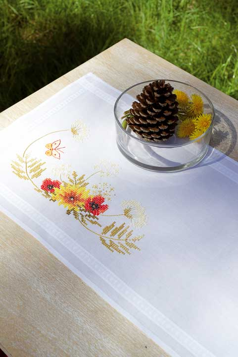 Vervaco Embroidery: Runner: Sunflowers and Poppies Runners and Tablecloth