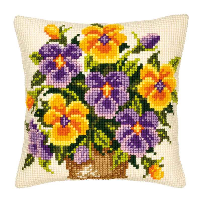 Vervaco Cross Stitch Cushion Kit: Yellow and Purple Pansies Flowers & Nature CSCK