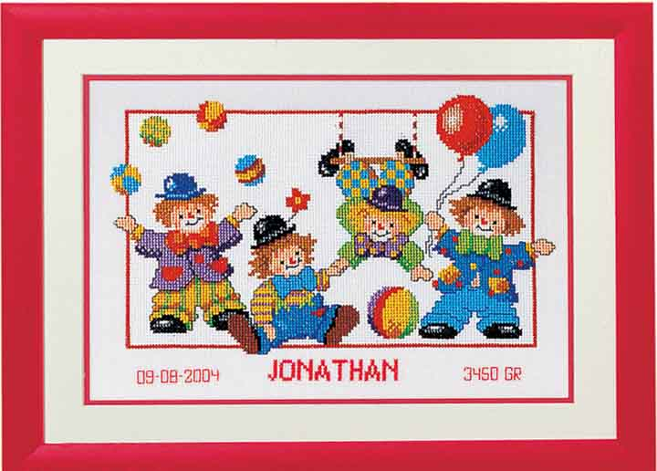 Counted Cross Stitch Kit: Birth Record: Clowns