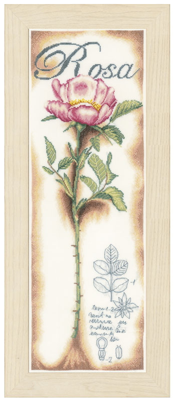 Lanarte Counted Cross Stitch Kit: Pink Rose (Linen)
