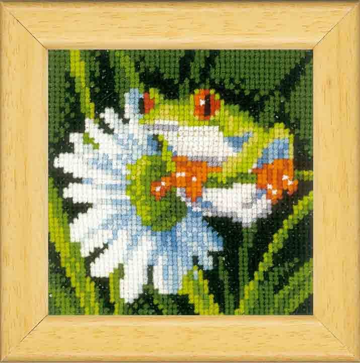 Counted Cross Stitch Kit: Red Eye Tree Frog Set