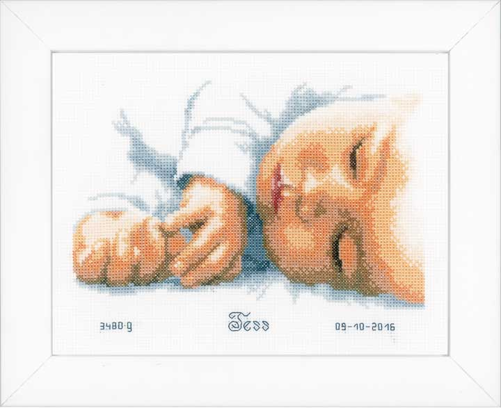 Counted Cross Stitch Kit: Birth Record: New-Born Birth Records CSK