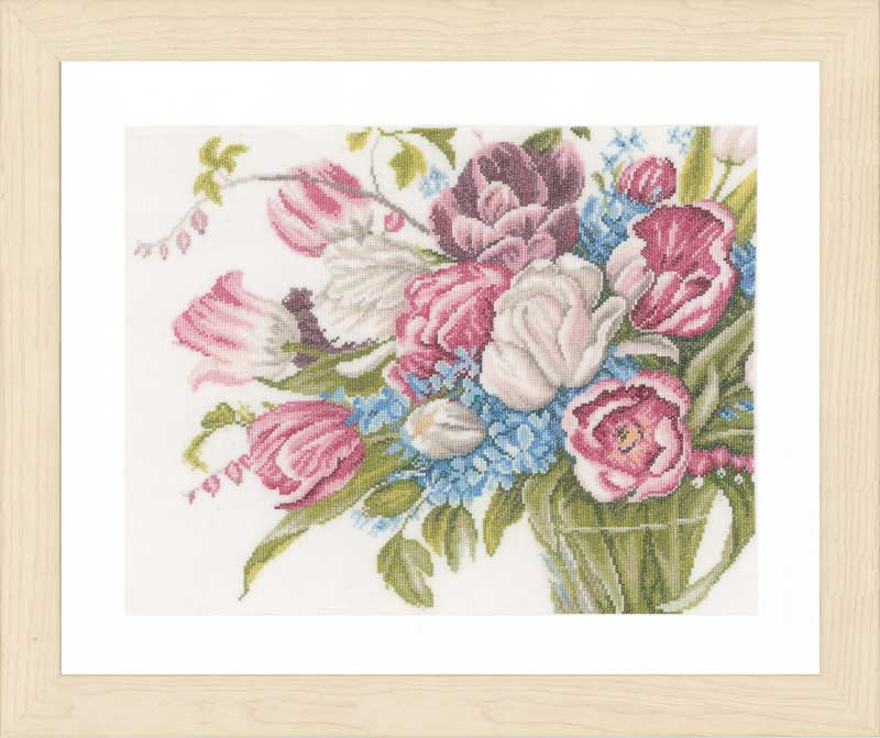 Lanarte Counted Cross Stitch Kit: Pretty Bouquet of Flowers