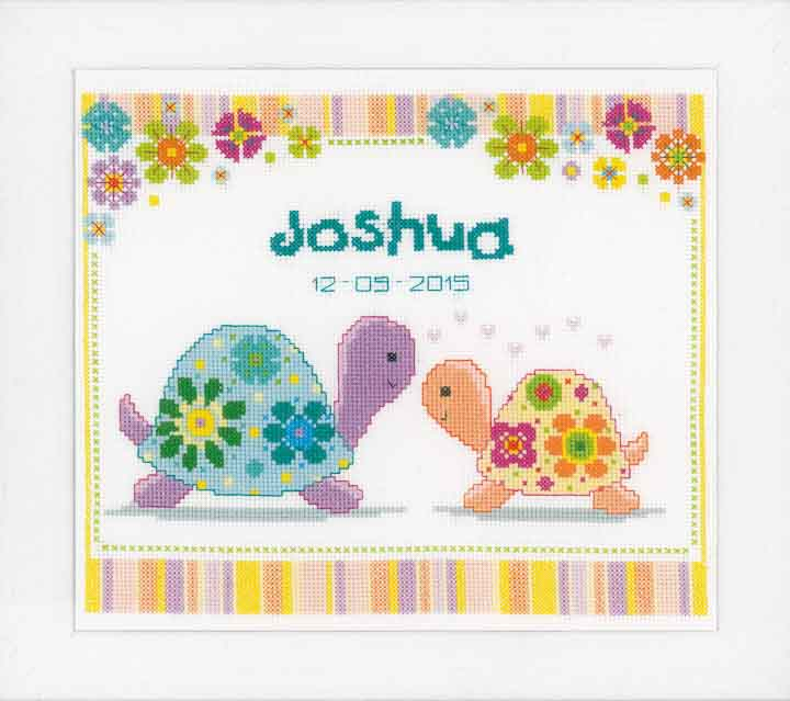 Counted Cross Stitch Kit: Birth Record: Colourful Turtles Birth Records CSK