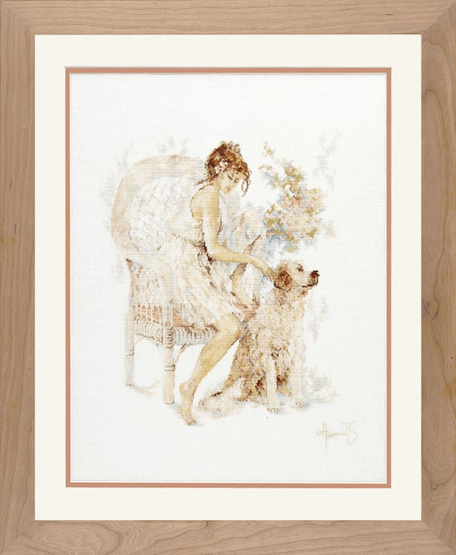 Lanarte Counted Cross Stitch Kit: Girl in Chair with Dog (Linen) Cats & Dogs CSK