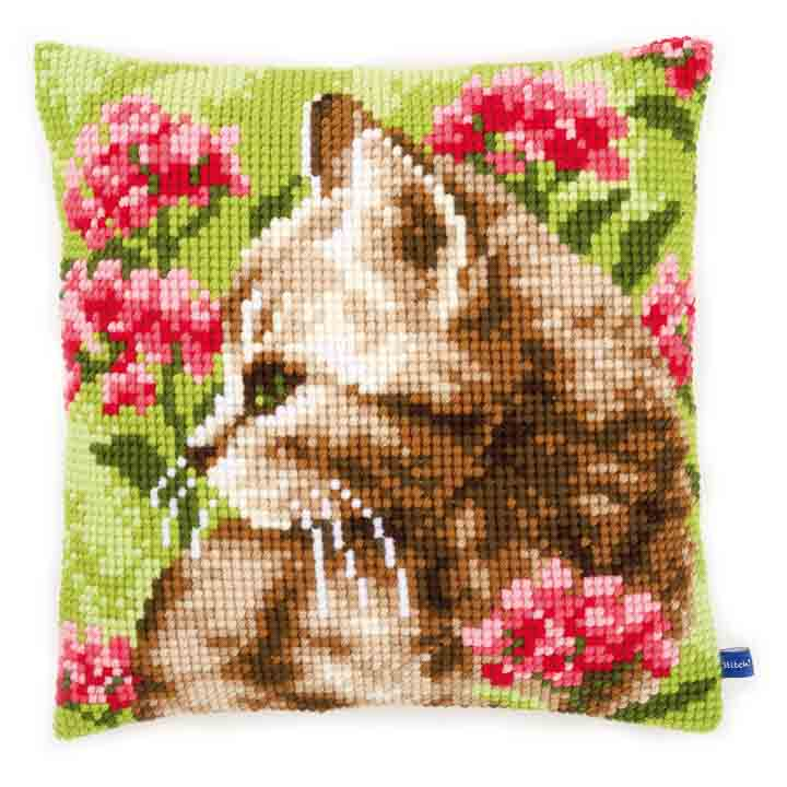 Vervaco Cross Stitch Cushion: Cat in Field of Flowers Cats & Dogs CSCK
