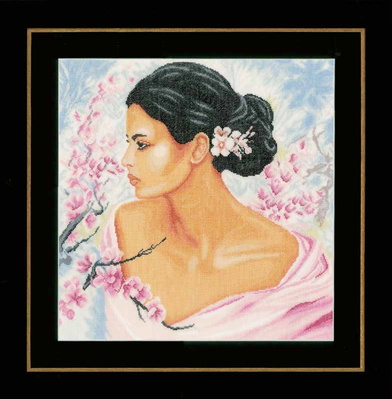 Lanarte Counted Cross Stitch Kit: Lady with Blossoms (Linen) Beauty & Love CSK
