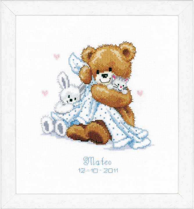 Counted Cross Stitch Kit: Birth Record: Teddy & Blanket