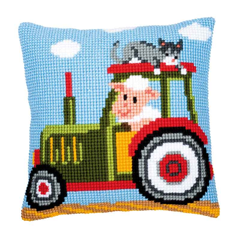 Vervaco Cross Stitch Cushion Kit: Tractor 1 Cars & Transport