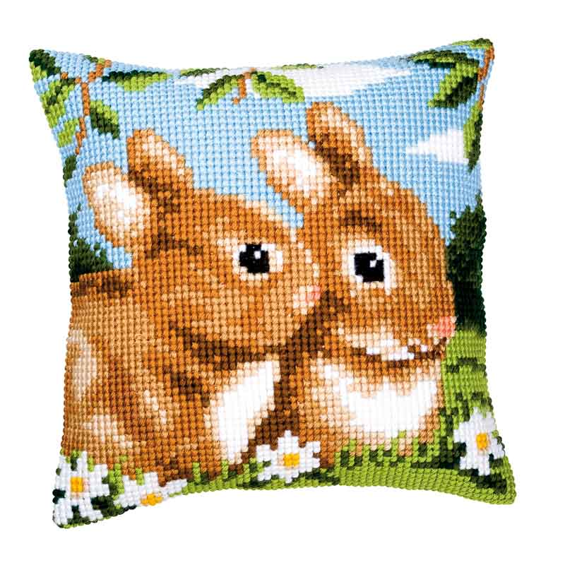 Vervaco Cross Stitch Cushion Kit: Bunnies