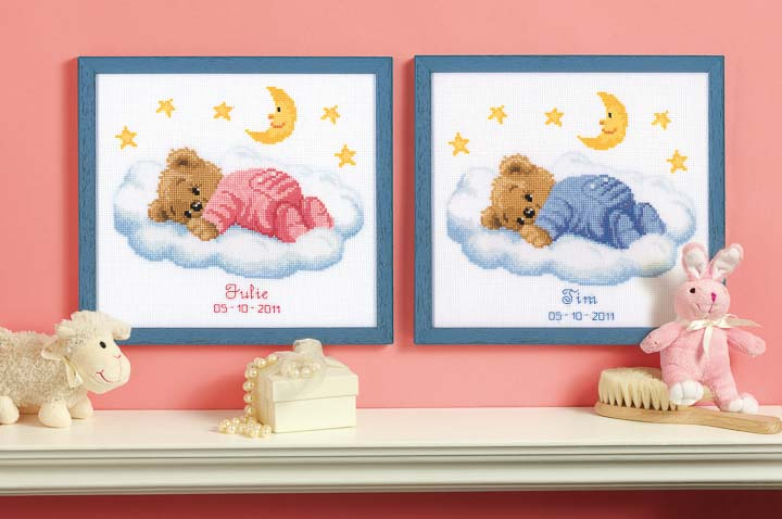 Counted Cross Stitch Kit: Birth Record: Teddy on Clouds Birth Records CSK