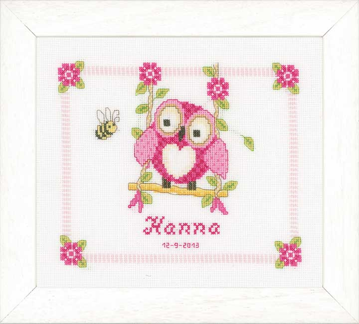 Counted Cross Stitch Kit: Birth Record: Owl Birth Records CSK