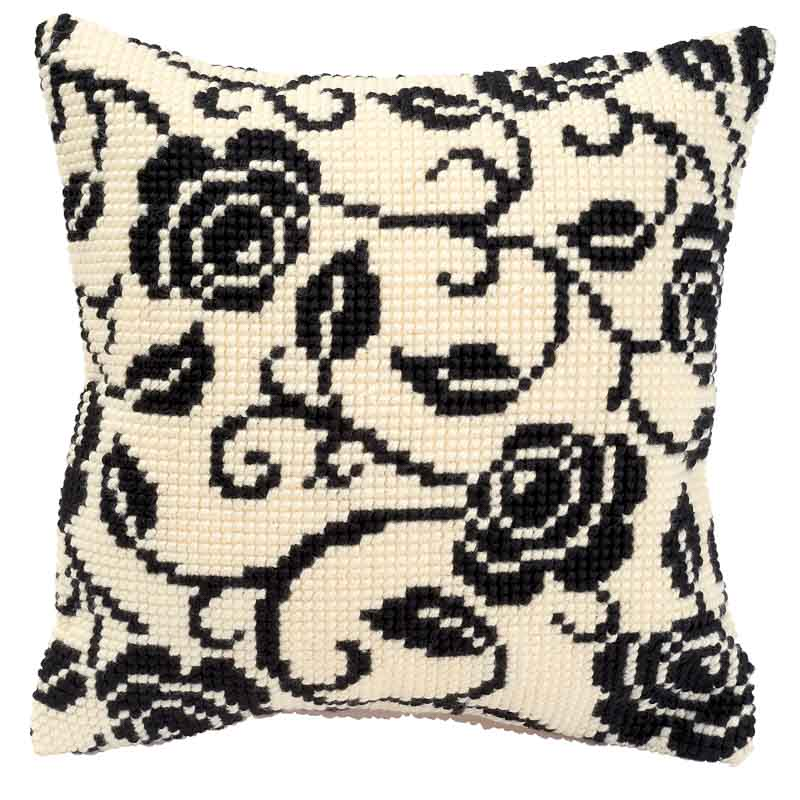 Vervaco Cross Stitch Cushion Kit: Blackworks Design Patterns CSCK