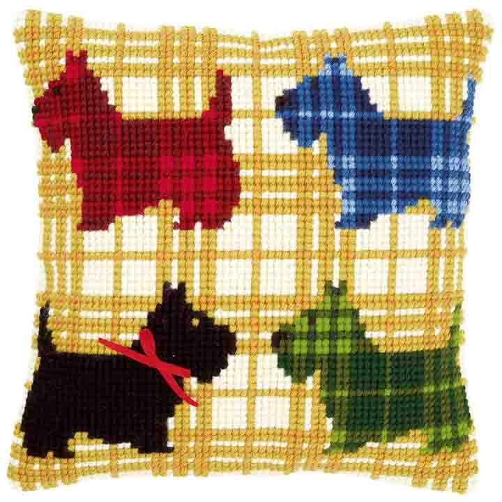 Vervaco Cross Stitch Cushion: Colourful Doggies
