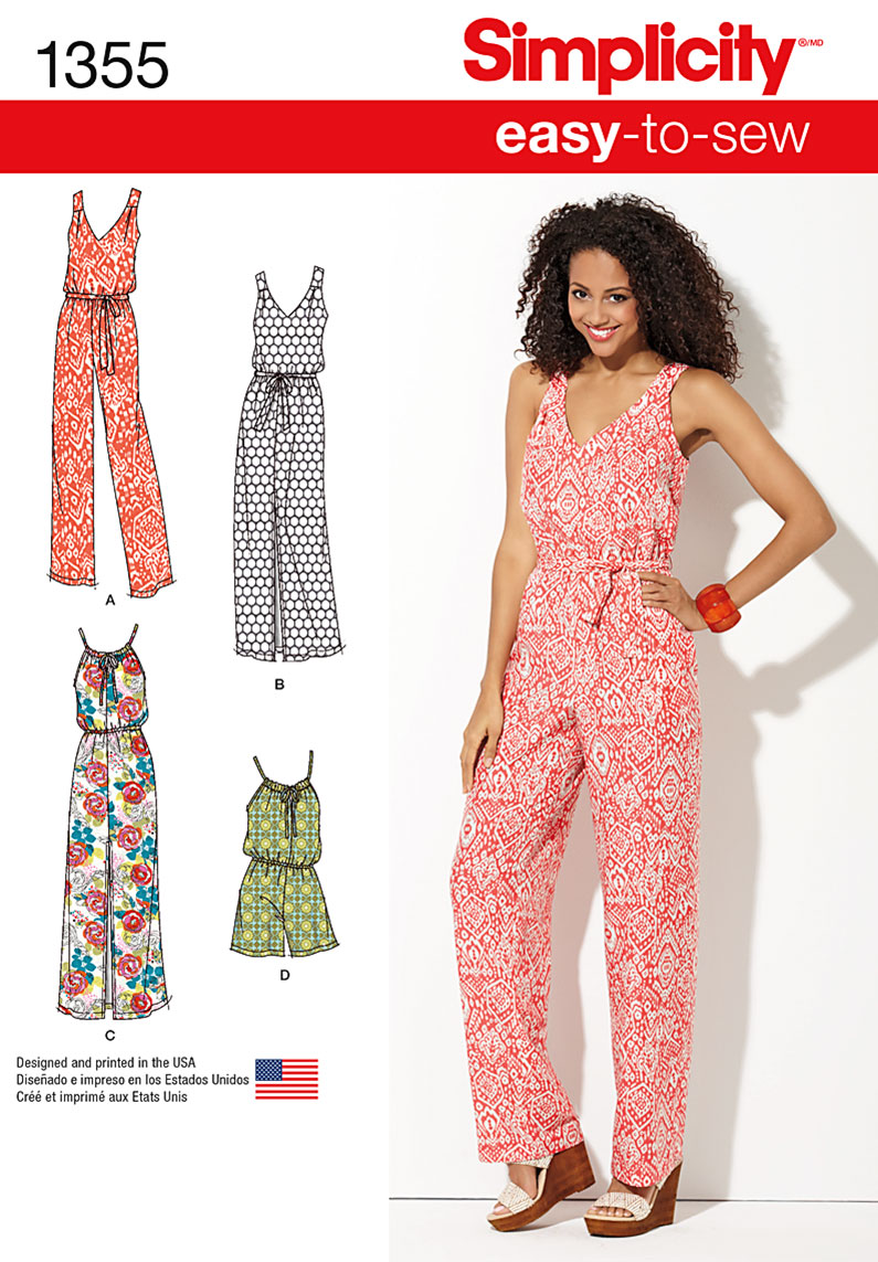 Simplicity Misses Maxi Dress and Long or Short Jumpsuit, Size A (XXS-XS-S-M-L-XL-XXL)