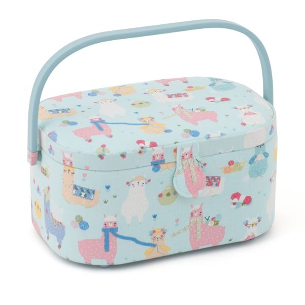 HobbyGift HGLO_509 | Sewing Box (L) | Oval | Knit Alpacas
