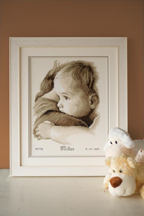 Counted Cross Stitch Kit: Birth Record: Baby Hug Birth Records CSK