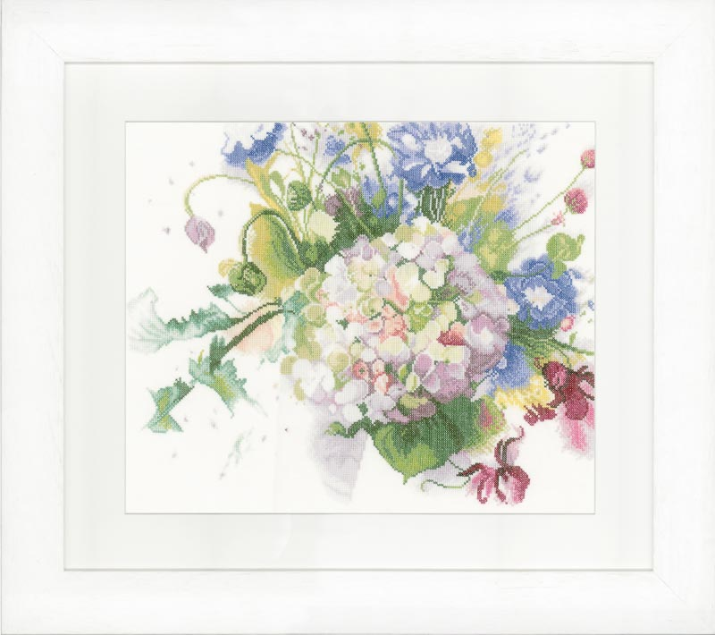 Lanarte Counted Cross Stitch Kit: Hortensia (Linen)