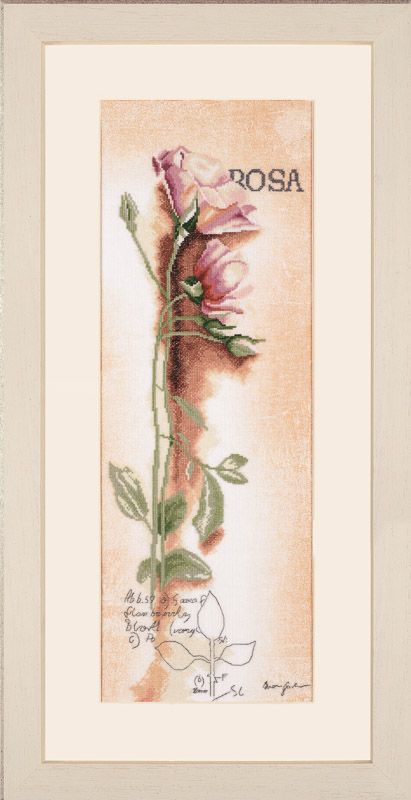 Lanarte Counted Cross Stitch Kit: Rosa: Botanical (Linen)