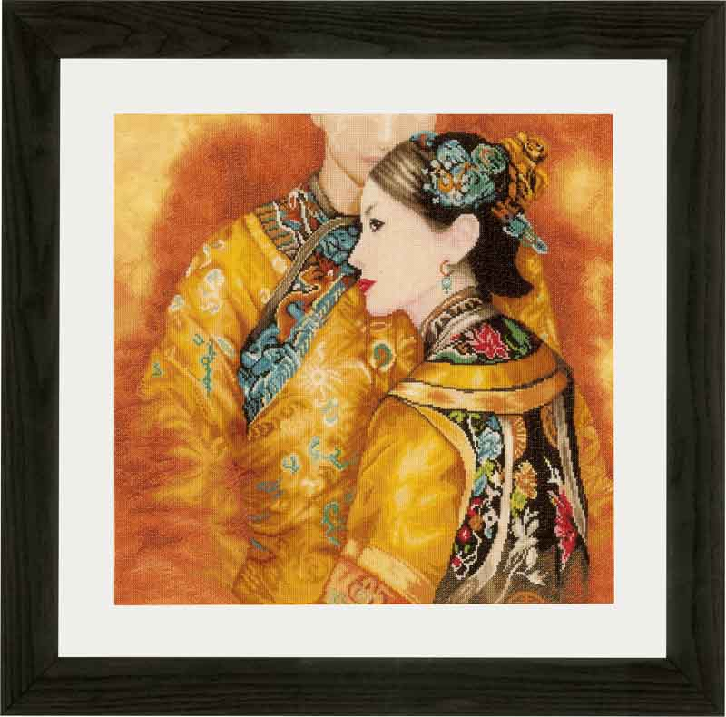 Lanarte Counted Cross Stitch Kit: Asian Couple (Evenweave) Beauty & Love CSK