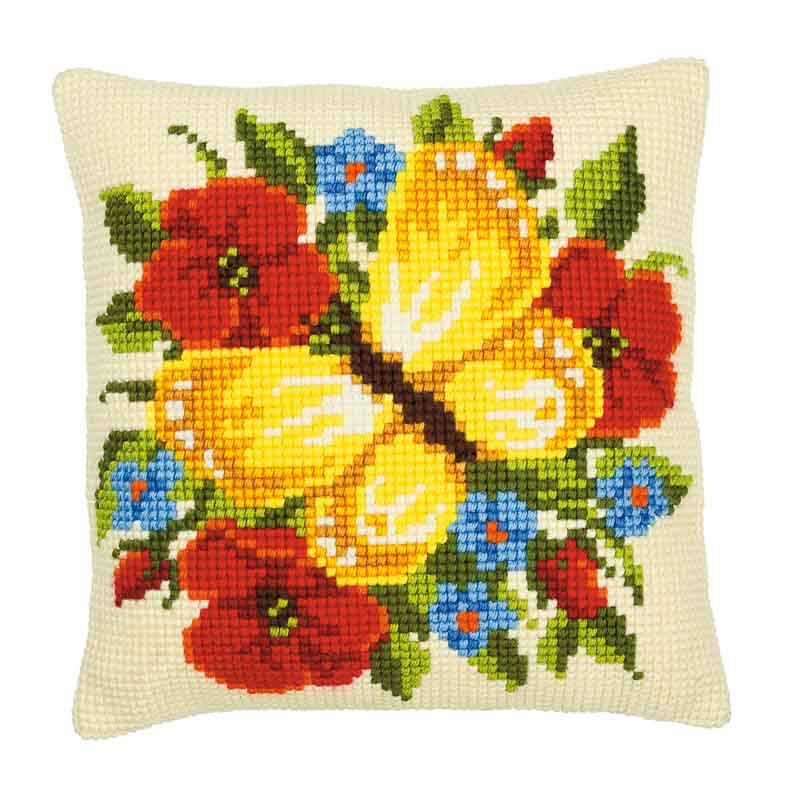 Cross Stitch Cushion Kit: Yellow Butterfly Bugs & Insects Cushion Kit