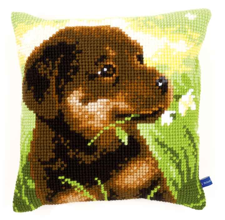 Vervaco Cross Stitch Cushion: Rottweiler Puppy