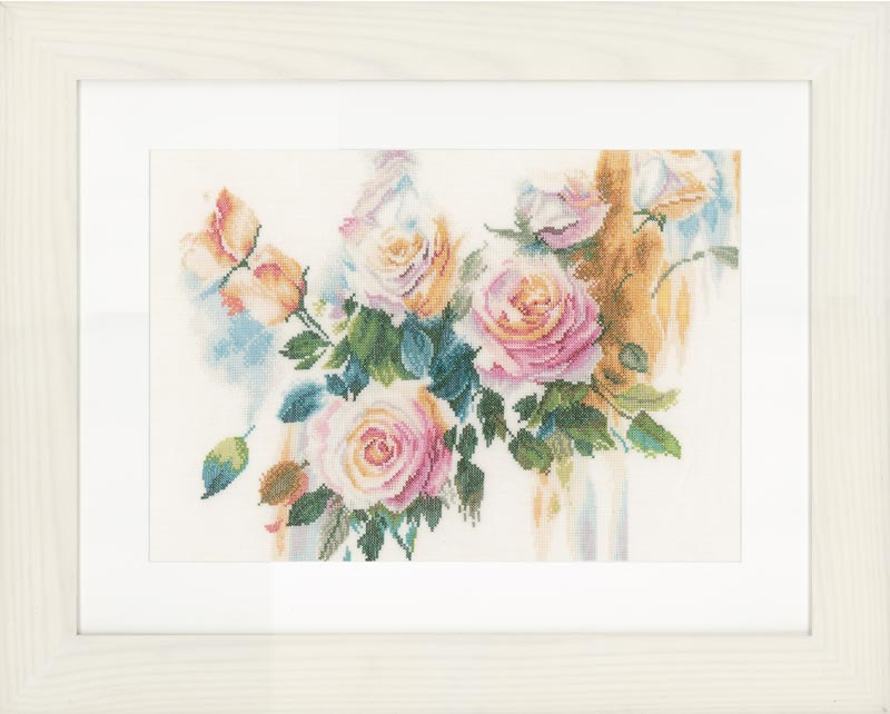 Lanarte Counted Cross Stitch Kit: Pink Roses Bouquet (Linen)