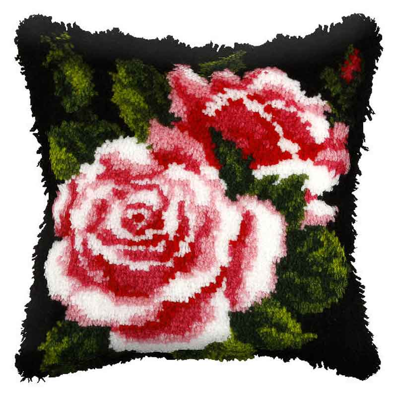 Orchidea Latch Hook Kit: Cushion: Large: Pink Rose Latch Hook Cushion Kit