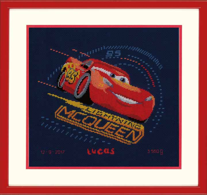 Counted Cross Stitch Kit: Birth Record: Cars - Screeching Tyres Birth Records CSK