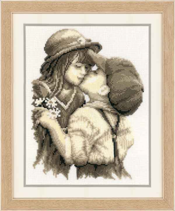Counted Cross Stitch Kit: First Kiss Beauty & Love CSK
