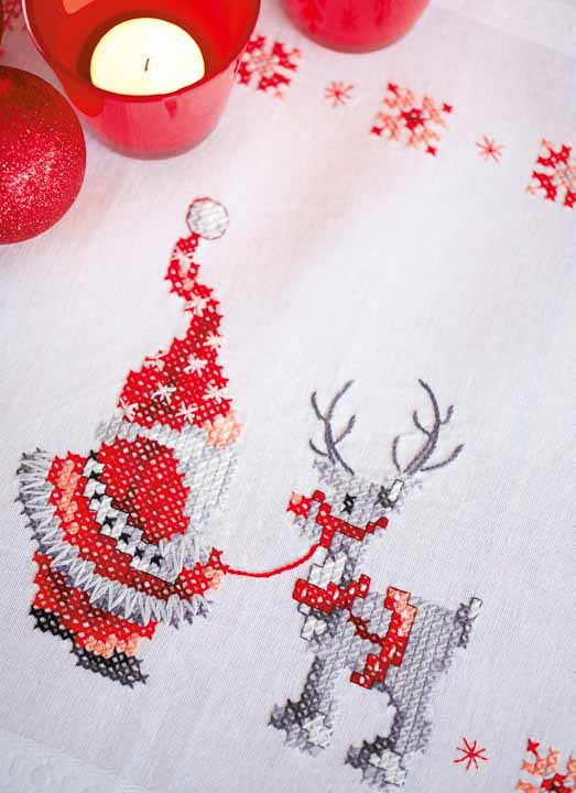 Vervaco Embroidery Kit: Runner: Christmas Elves Runners and Tablecloth