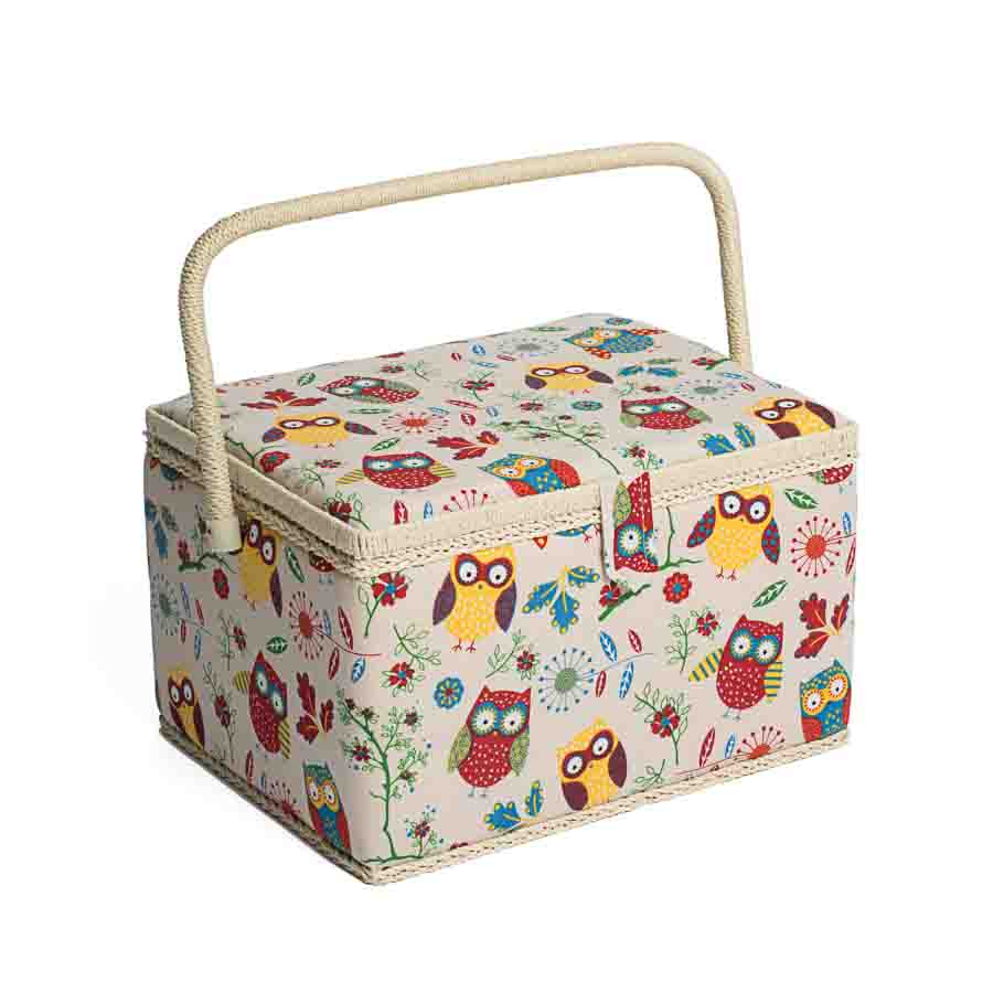 HobbyGift Sewing Box (L): Rectangle: Owl | MRL_29 Bird Print Sewing Box
