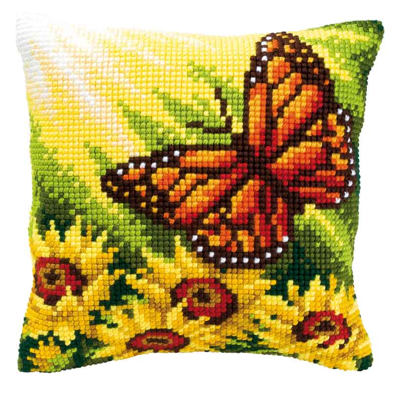 Vervaco Cross Stitch Cushion Kit: Butterfly and Sunflowers Flowers & Nature CSCK