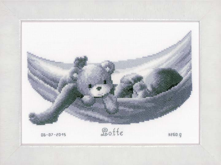 Counted Cross Stitch Kit: Birth Record: Baby in Hammock
