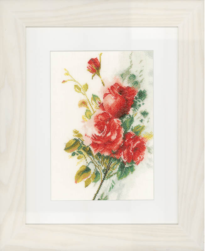 Lanarte Counted Cross Stitch Kit: Red Roses Bouquet (Linen)