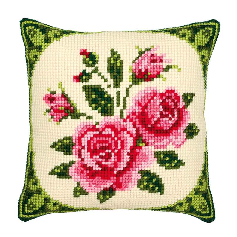 Vervaco Cross Stitch Cushion Kit: Pink Roses Flowers & Nature CSCK
