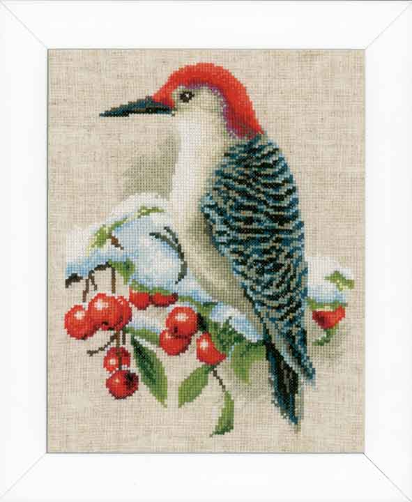 Counted Cross Stitch Kit: Red Woodpecker