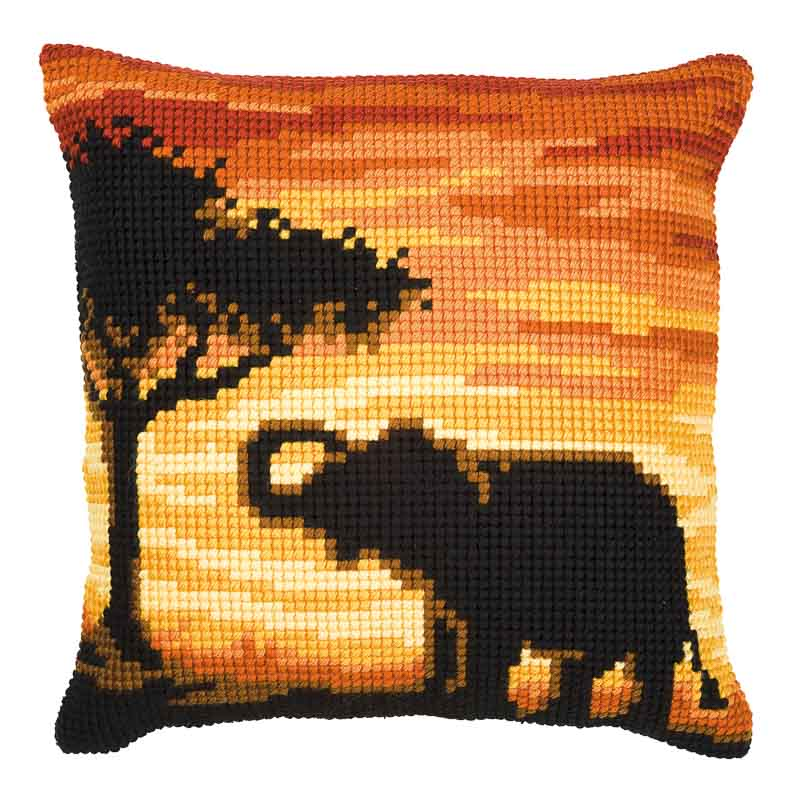Vervaco Cross Stitch Cushion Kit: Sunset Elephant