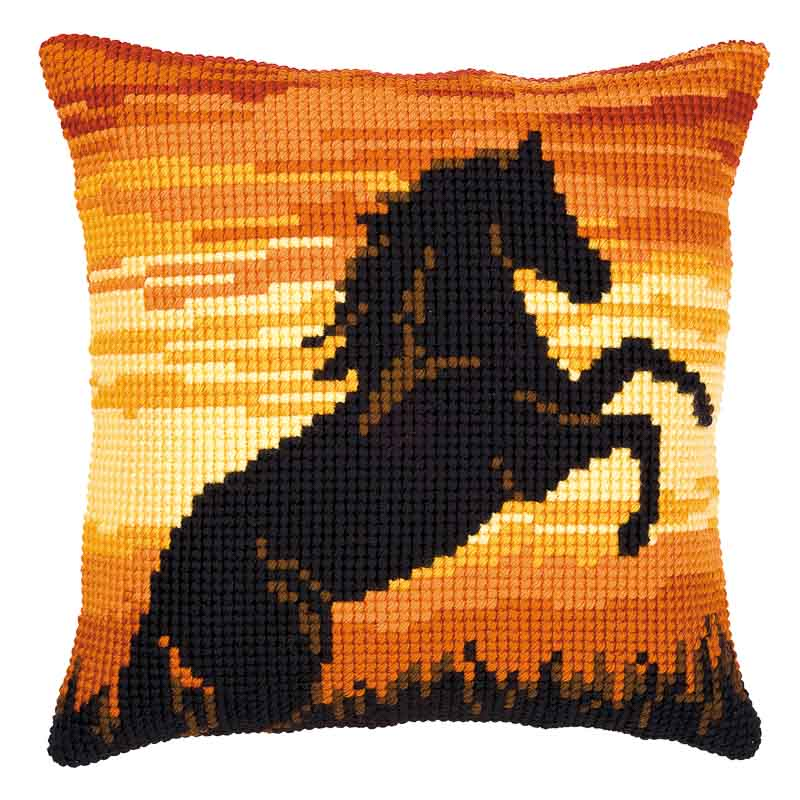 Vervaco Cross Stitch Cushion Kit: Sunset Stallion Animals & Birds CSCK