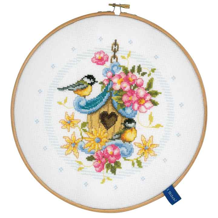 Vervaco Counted Cross Stitch Kit with Embroidery Ring: Our Bird House