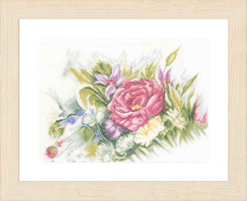 Lanarte Counted Cross Stitch Kit: Watercolor Flowers (Linen)