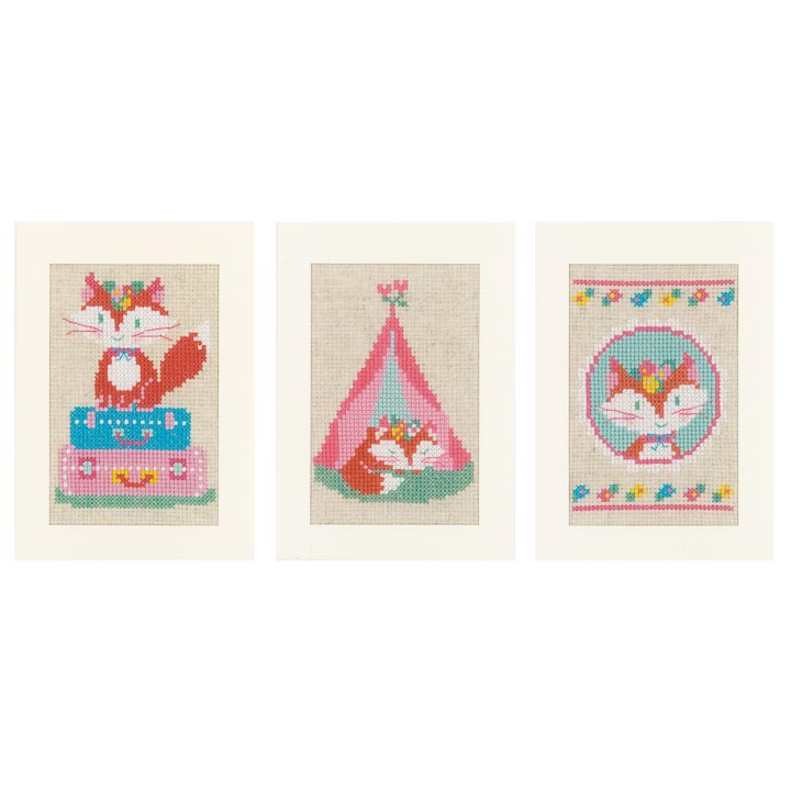 Counted Cross Stitch Cards: Lief! Little Fox on Travel (Set of 3)
